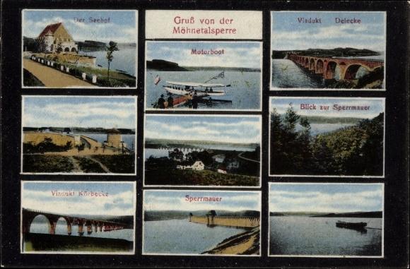 Ak Möhnesee im Kreis Soest Nordrhein Westfalen, Seehof, Viadukte, Motorboot, Talsperre