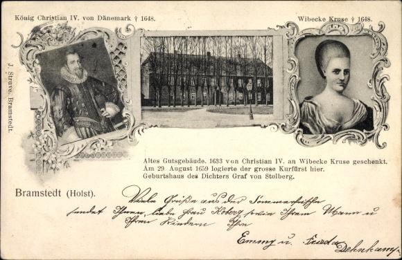 Ak Bad Bramstedt in Schleswig Holstein, König Christian IV von Dänemark, Wibecke Kruse, Gutsgebäude