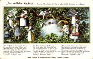 Lied Ak Der verliebte Kuckuck, Gesangs Rheinländer, Kuckuck mit seinen zehn Frauen