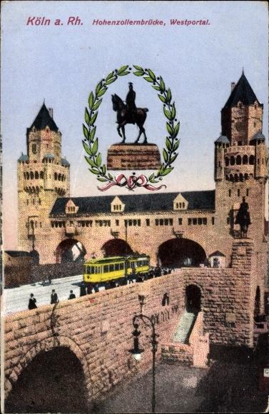 Ak Köln am Rhein, Hohenzollernbrücke, Westportal, Tram