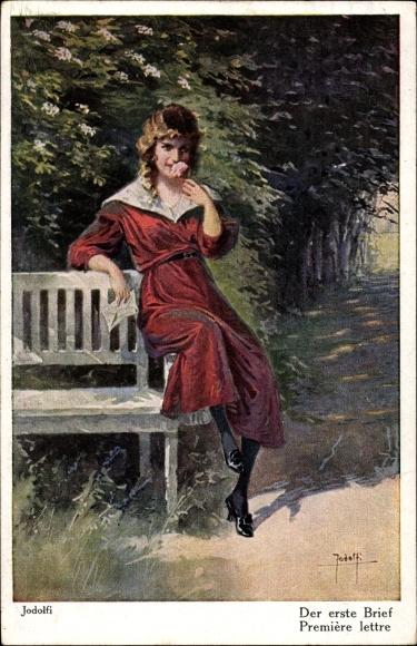 Künstler Ak Jodolfi, Der erste Brief, junge Frau in rotem Kleid auf einer Bank