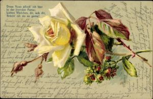 Präge Künstler Ak Gelbe Rose, Diese Rose pflück ich hier