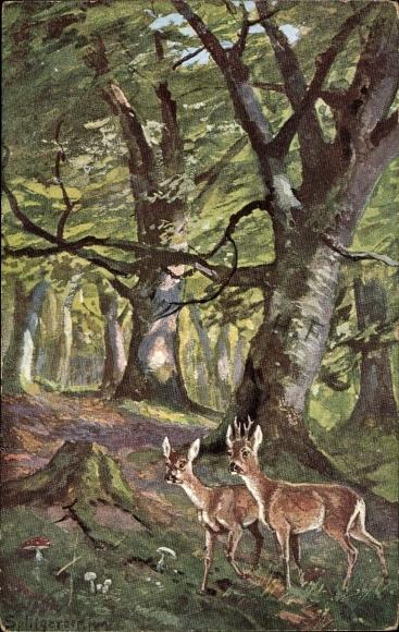 Künstler Ak Splitgerber, Im Wald, Rehe, Bäume