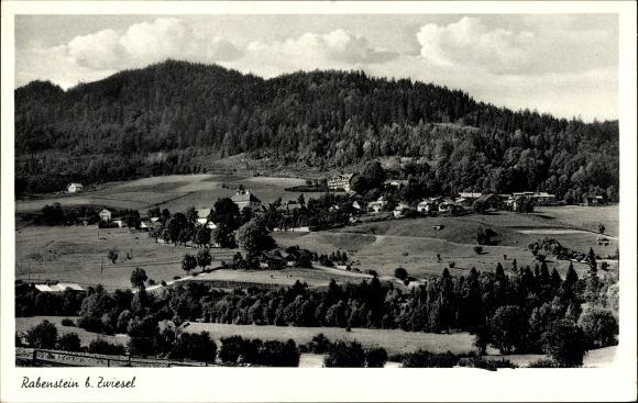 Ak Rabenstein Zwiesel im Bayerischen Wald, Stadtpanorama, Wald, Berg