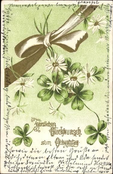 Präge Litho Glückwunsch Geburtstag, Schleife, Kleeblätter, Blumen