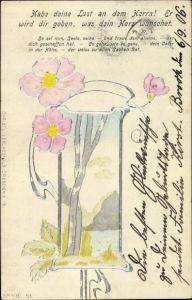 Präge Ak Habe deine Lust an derm Herrn, Ps. 37.4, Blüten, Birken, Jugendstil
