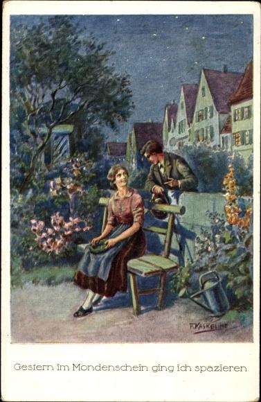 Künstler Ak Kaskeline, F., Gestern im Mondenschein ging ich spazieren, junge Frau im Garten, Mann