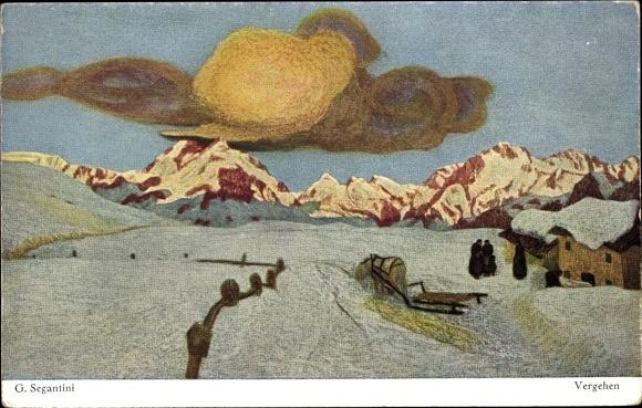 Künstler Ak Segantini, Giovanni, Vergehen, Dunkle Wolken über den Alpen