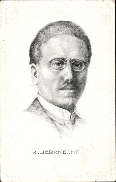 Künstler Ak Dr. Karl Liebknecht, Portrait, Marxist und Antimilitarist, SPD, KPD, Spartakist