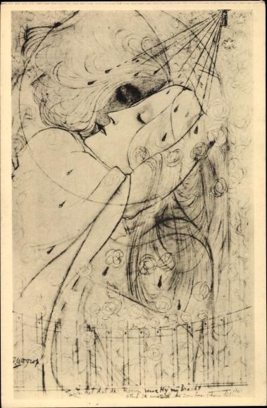 Künstler Ak Toorop, Jan, In het dal der rozen, Im Tal der Rosen, Kuss