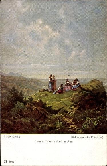 Künstler Ak Spitzweg, Carl, Sennerinnen auf einer Alm, Ackermann Nr 2966