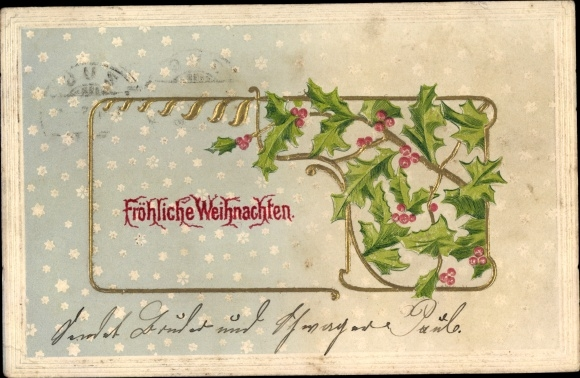 Präge Ak Frohe Weihnachten, Stechpalmenblätter, Schnee