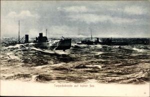 Ak Deutsches Kriegsschiff, Torpedoboote auf hoher See, Kaiserliche Marine