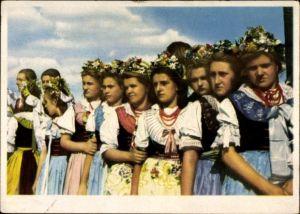 Ak Die Jugend der Welt will den Frieden, Glückliche Jugend Polens, Mädchen in polnischer Tracht