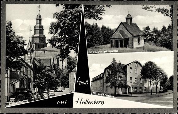 Ak Hallenberg im Hochsauerlandkreis, Kreuzburg Kapelle, Ortseingang, St. Josefshaus