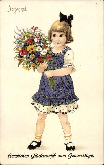 Künstler Ak Schenkel, Franziska, Glückwunsch Geburtstag, Mädchen mit Blumenstrauß