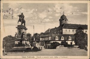 Ak Poděbrady Podiebrad Mittelböhmen, Zamek a pomnik krale Jiriho