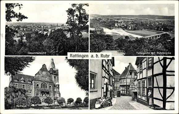 Ak Hattingen im Ennepe Ruhr Kreis, Gesamtansicht, Teilansicht mit Ruhrbrücke, Rathaus, im Huck