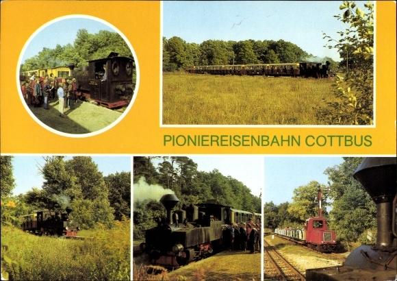 Ak Pioniereisenbahn Cottbus, Bahnhof, Lokomotive, Eisenbahn