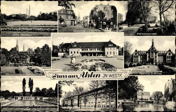 Ak Ahlen im westfälischen Münsterland, Zeche Westfalen, Bahnhof, Freibad, Weststraße, Marienkirche