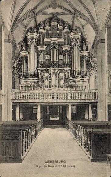 Ak Merseburg an der Saale, Blick auf die Orgel im Dom