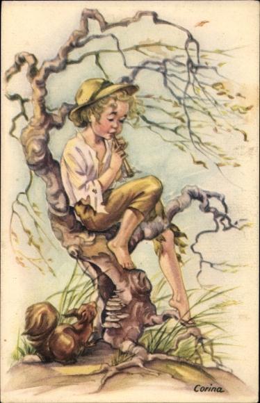 Künstler Ak Corina, Junge spielt eine Flöte, Eichhörnchen