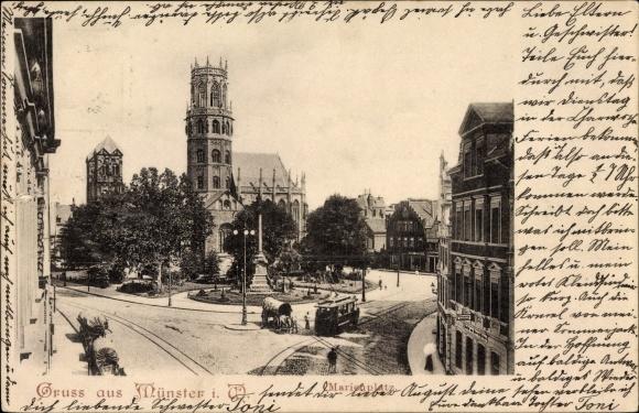 Ak Münster in Westfalen, Partie am Marienplatz, Kirche, Straßenbahn, Denkmal