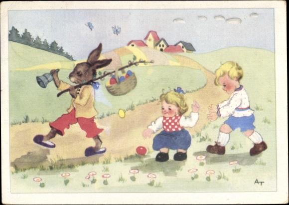Künstler Ak Osterhase mit Glocke und Ostereiern, Kinder