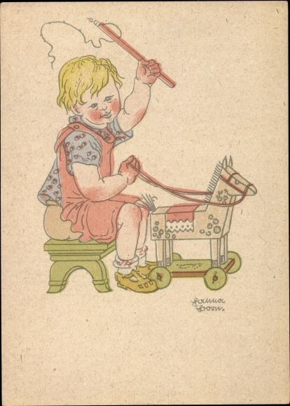 Künstler Ak Born, Hanna, Junge spielt mit Schaukelpferd