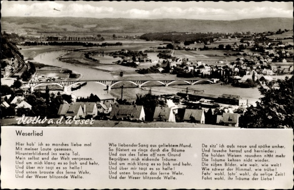 Lied Ak Vlotho in Nordrhein Westfalen, Weserlied, Panorama vom Ort, Bahnstrecke, Brücke