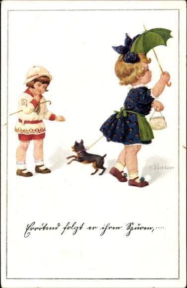 Relief Ak Künstler Ak Jüchtzer, E., Zwei Mädchen mit einem Hund