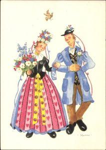 Künstler Ak Hahn, Paar zur Hochzeit, Trachten, Blumen im Haar