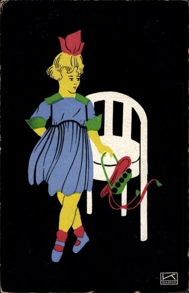 Künstler Ak Kallenbach, Hilde, Fapa Scherenschnitte, Mädchen mit Hut