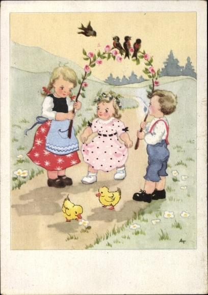 Künstler Ak Kinder auf einem Feldweg, Rosenzweig, Entenküken, Vögel, Kitsch
