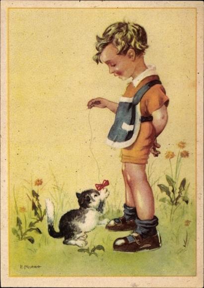 Künstler Ak Neubert, E., Junge spielt mit einer Katze