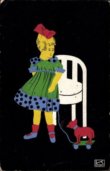 Künstler Ak Kallenbach, Hilde, Mädchen mit Spielzeughund