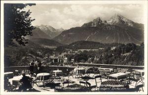 Ak Berchtesgaden in Oberbayern, Café Restaurant Lockstein, Terrasse mit Landschaftsblick