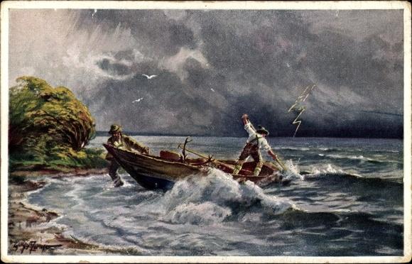 Künstler Ak Moralt, Willy, Der Chiemsee, Gewittersturm, Nr 4