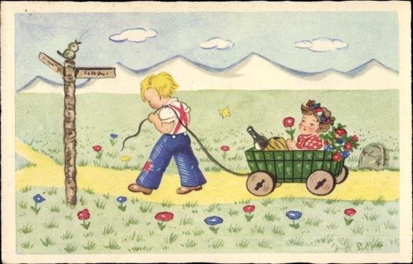 Künstler Ak Schott, Inge, Kinder, Blumen, Sektflasche, Karren, Landweg, Amag Nr 3533