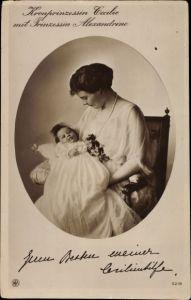 Ak Kronprinzessin Cecilie mit Prinzessin Alexandrine, NPG 5218