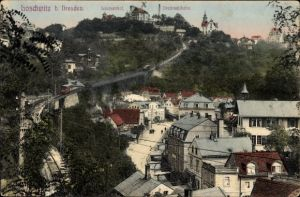 Ak Dresden Nordost Loschwitz, Teilansicht der Stadt, Drahtseilbahn
