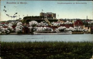 Ak Werder an der Havel, Dampferanlegestelle zur Bismarckshöhe, Baumblüte