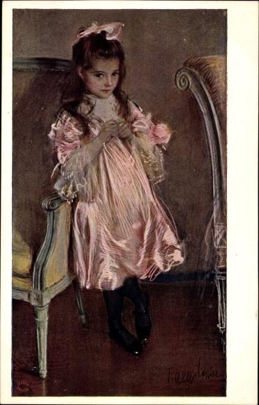 Künstler Ak Axentowicz, T., Junges Mädchen, Rosa Kostüm