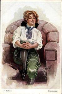 Künstler Ak Schlemo, E., Interessant, Junge Frau mit Blume im Mund