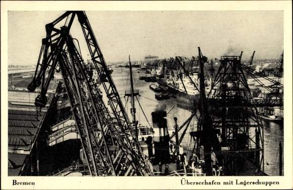 Ak Hansestadt Bremen, Überseehafen mit Lagerschuppen, Schiffe