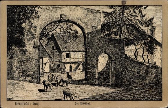 Künstler Ak Gernrode Quedlinburg im Harz, Der Blökhof, Schafe