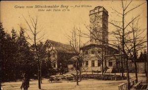Ak Wilthen im Kreis Bautzen Sachsen, Mönchswalder Berg, Turm, Terrasse