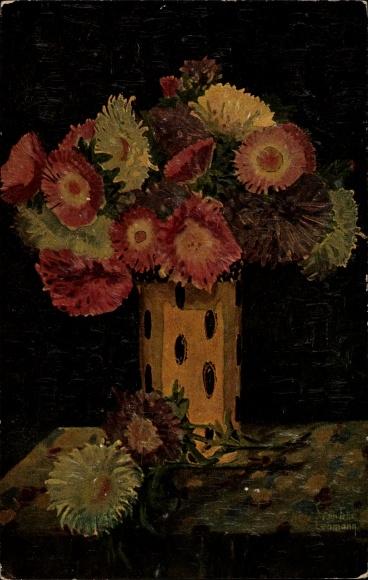 Künstler Ak Lehmann, Fel. S., Astern in Vase, Degi 1036, Blumenstillleben