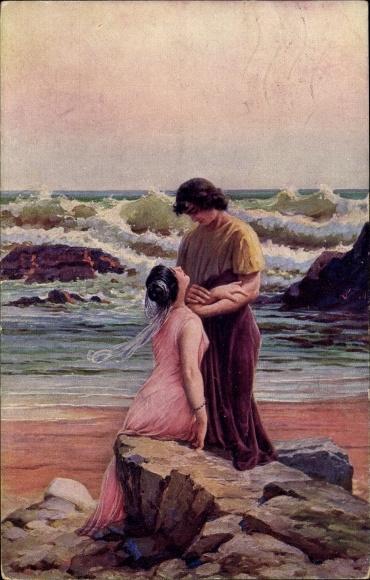 Künstler Ak Liebscher, A., Römische Liebe, L'Amour Romain, Liebespaar am Strand