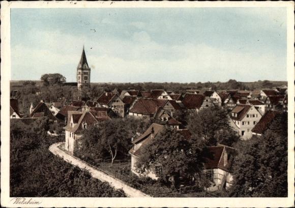 Ak Welzheim Baden Württemberg, Gesamtansicht des Ortes, Kirche, Wohnhäuser